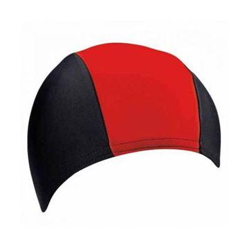 Afbeelding van Badmuts stretch PE/elastaan zwart/rood